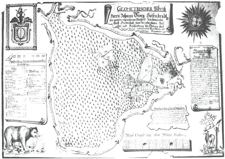 """Mapka podílu Johanna Georga Hafenbrädla (1759-1807) na zboží hůrecké sklárny z roku 1794, """"kreslená ručně"""" Johannem Michlem, """"vrchním lovčím a zkoušeným inženýrem"""" - území """"Glashüttengut Hurkenthal"""" sousedilo na západě s územím deskového statku Debrník a Hafenbrädl je prodal roku 1800 Christianu Ferdinandu Abele (1742-1801)"""