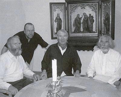 Bratři Hafnerové (zleva Adolf, Herbert, Leopold a Franz) při otevření své výstavy v Pasově 2007