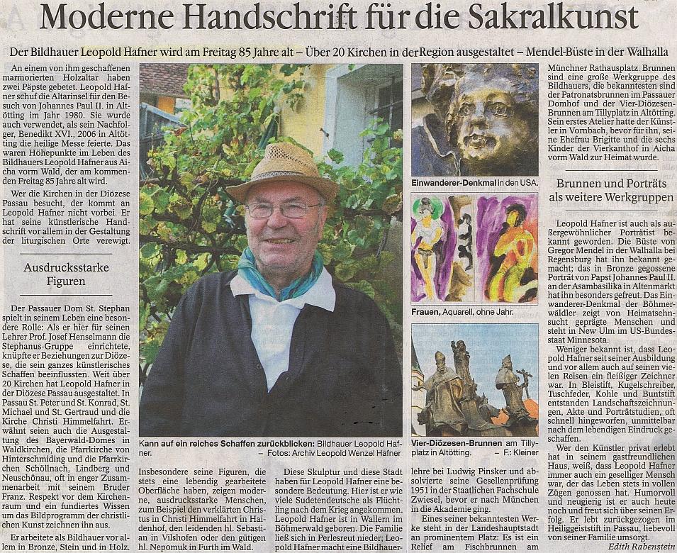 Připomínka jeho pětaosmdesátin na stránkách bavorského listu Passauer Neue Presse