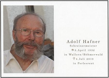 Úmrtní oznámení bratra Adolfa z roku 2019