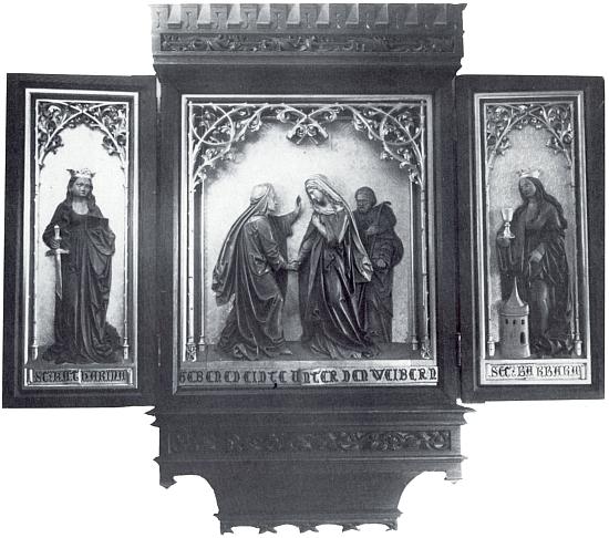 Domácí oltář prof. Leopolda Hafnera (1859-1925) v majetku rodiny Hafnerovy - zleva sv. Kateřina, sv. Alžběta, Panna Maria a sv. Josef, sv. Barbora
