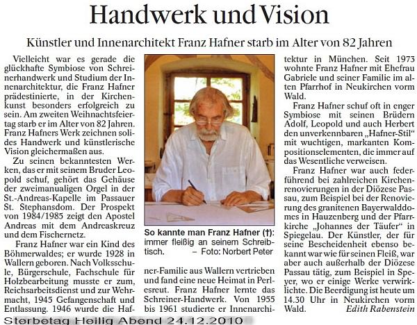 Nekrolog v deníku Passauer Neue Presse