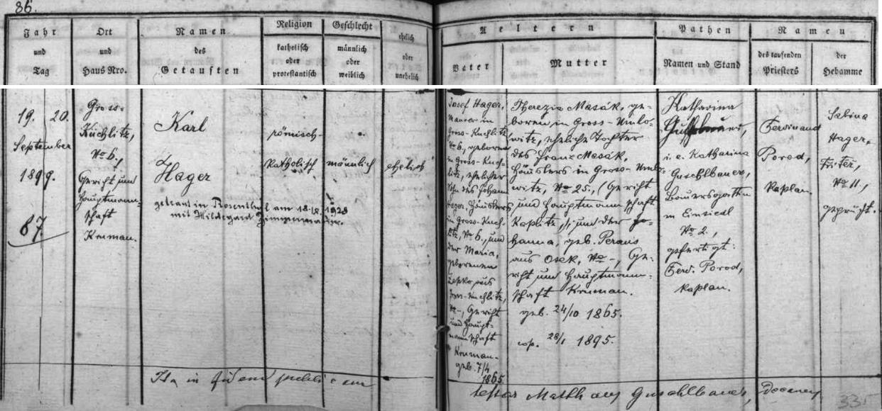 Záznam o jeho narození v kaplické křestní matrice s přípisem o Hagerově svatbě v roce 1928