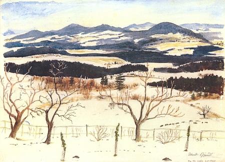 Údolí Malše pod Slepičími horami z Chuchelce na akvarelu Zdeňka Jiráně, pořízeném na Tři krále Léta Páně 1968