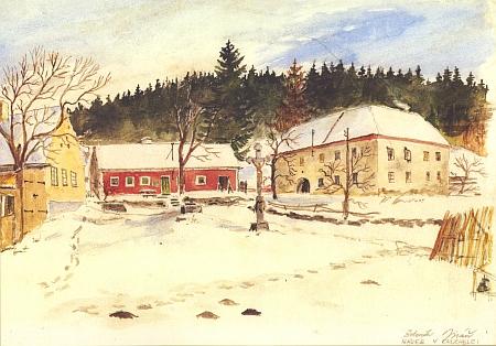 Náves v Chuchelci na dalším akvarelu Zdeňka Jiráně