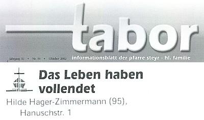 Zpráva o jejím úmrtí v informačním listu farnosti Steyr - Svatá rodina, nazvaném Tabor