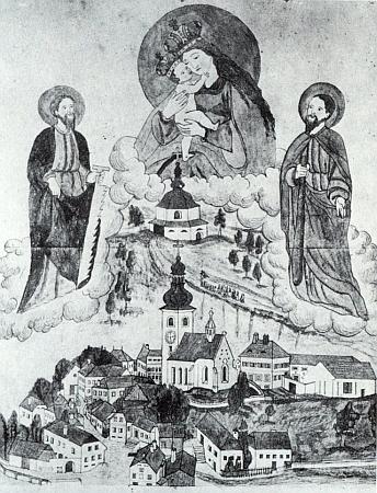 Lidové zobrazení poutě k Panně Marii Pomocné u Rožmitálu na Šumavě i se starou podobou městečka a kostela