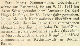 Zpráva o smrti matčině v roce 1951 nastránkách krajanského měsíčníku