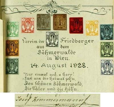 """Podpis jejího otce mezi účastníky spolkového setkání """"Frymburských ze Šumavy"""" ve Vídni 14. srpna 1928"""