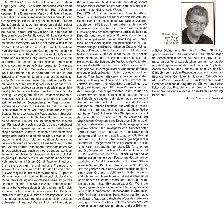 Obsáhlý nekrolog na stránkách krajanského časopisu napsala její neteř Maria Wagnerová a doplnil Alois Harasko