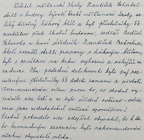Svědectví české školní kroniky o událostech z konce války má pěčeť naprosté autenticity