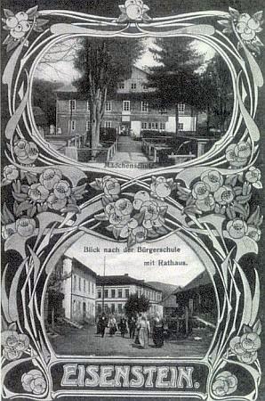 Pohlednice ze Železné Rudy se záběry dívčí a měšťanské školy, kde vyučoval jeho otec