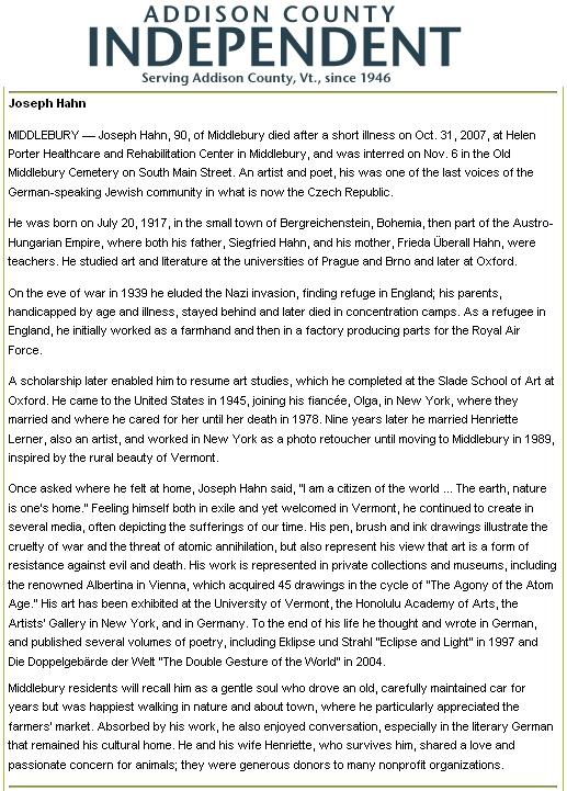 Článek o jeho pohřbu v americkém listu Addison County Independent (stát Vermont)