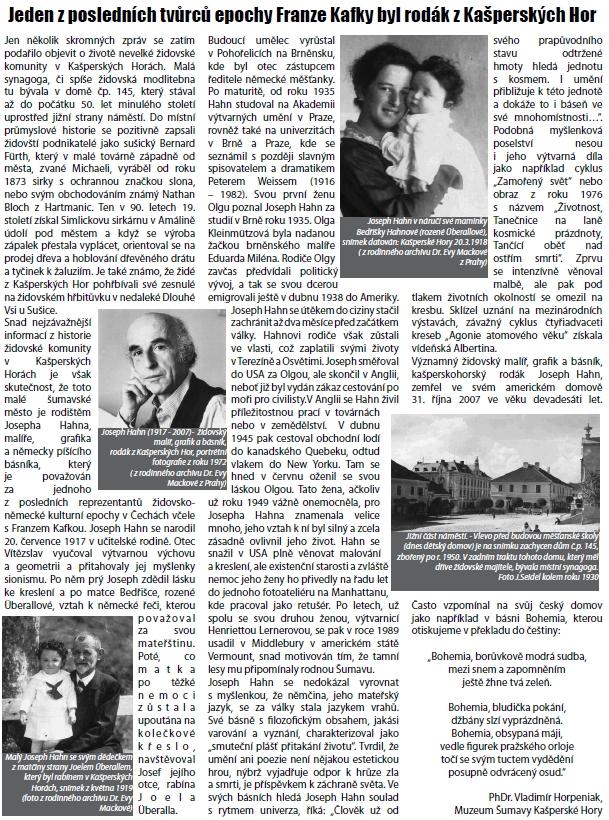 Článek Vladimíra Horpeniaka o něm v Kašperskohorském zpravodaji otiskuje i překlad básně Bohemia z Kohoutího kříže
