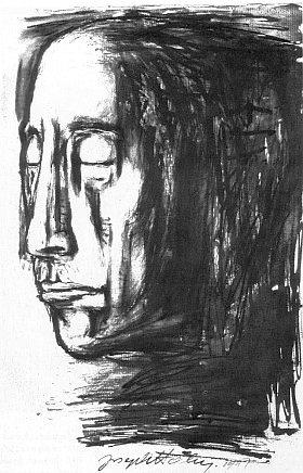 Portrét otcův podepsaný synem, který jej roku 1947 nakreslil černým inkoustem poté, co se dozvěděl o jeho smrti v Osvětimi