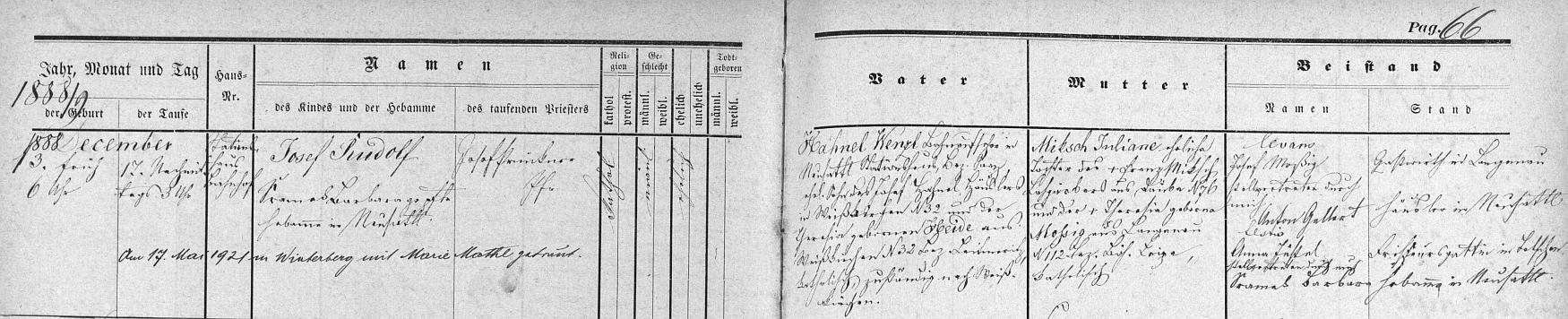 Záznam o jeho narození v křestní matrice farní obce Nové Sedlo s přípisem o svatbě