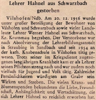 Podle této zprávy zemřel v prosinci 1956 jeho syn Werner Hahnel, rovněž učitel