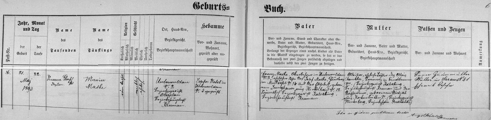 Záznam dolnovltavické křestní matriky o narození jeho ženy