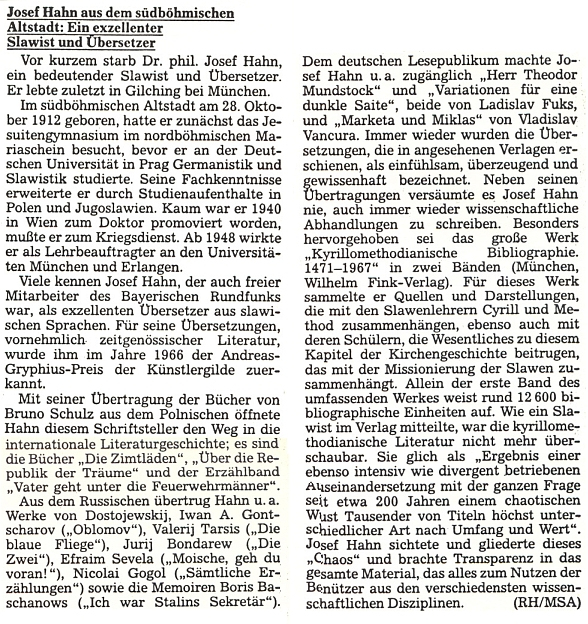 Nekrolog v Sudetendeutsche Zeitung