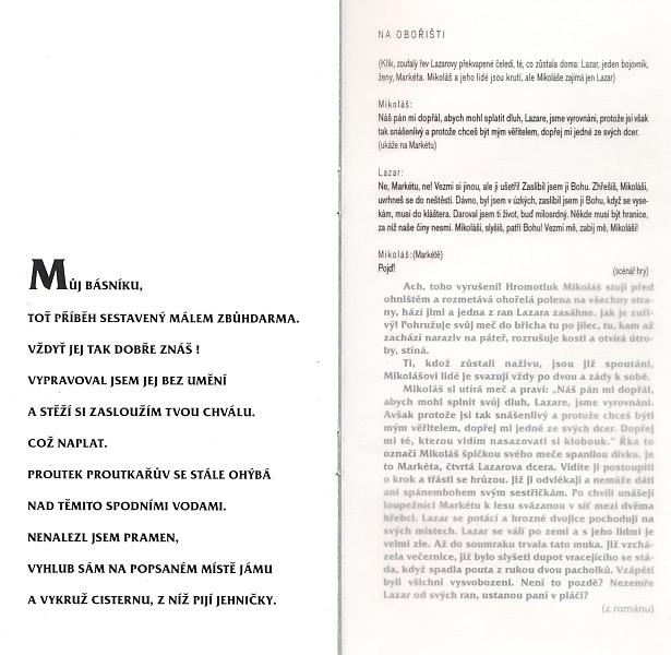 Několik stránek z tištěného programu k inscenaci Jihočeského divadla z roku 1997 s citacemi z Vančurova slavného románu, který Hahn přeložil do němčiny