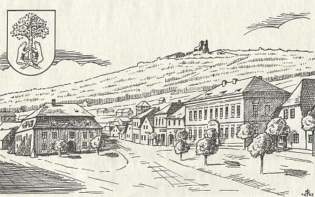 Přimda na kresbě Josefa Schmutzera z roku 1962