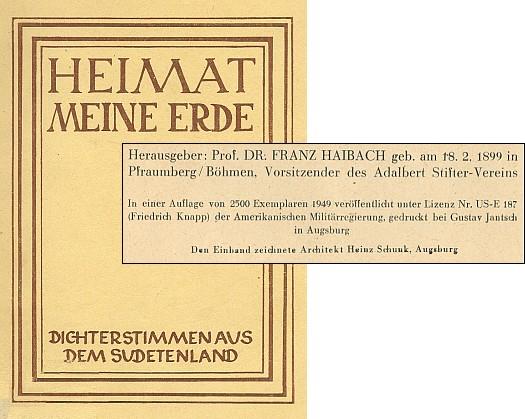 Obálka a tiráž antologie, jejímž se stal vydavatelem (nakladatelství Cassianeum, Ausburg)