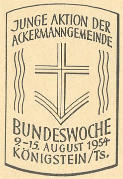 Pozvánka na spolkový týden Junge Aktion der Ackermann-Gemeinde v srpnu 1954