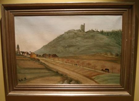 Olejomalba Susanne Habl z roku 1877 zachycuje jeho rodnou Přimdu pod hradem téhož jména