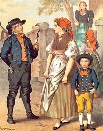 """Ilustrace z knihy Alberta Kretschmera (1825-1891) """"Das große Buch der Volkstrachten"""" (1887) a kroj na novějším snímku Josefa Goblirsche dokazují kontinuitu lidového oděvu z Haibachova rodného Přimdska"""