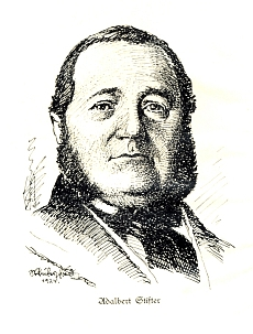 Frontispis knihy zdobí portrét šumavského klasika, který v roce 1924 nakreslil Josef Pfeifer-Fried (1884-1959)