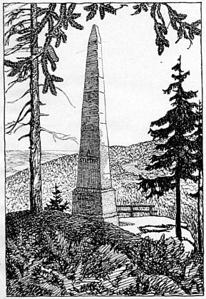 Týž frýdlantský malíř doprovodil Hajekovu knihu kresbami Stifterovy rodné Horní Plané a jeho obelisku nad Plešným jezerem