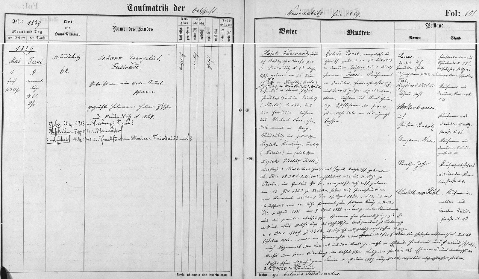 Záznam o jeho narození a pozdější první i druhé svatbě bez udání jmen jeho nevěst v křestní matrice farní obce NovéDoubice