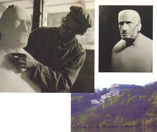 Stifterova busta, dílo O. H. Hajeka, instalována ve Walhalle 26.9.1954