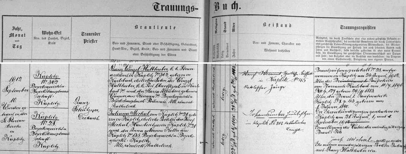 Záznam kaplické oddací matriky o otcově zdejší svatbě v září roku 1912 s Julianou Michalovou, která v Kaplici zemřela roku 1922 a on se znovu oženil s Marií Walburgou Hietlerovou, narozenou podle serveru My Heritage dne 10. června roku 1900 v Pohoří na Šumavě, což by vysvětlovalo dceřiny vazby k této končině