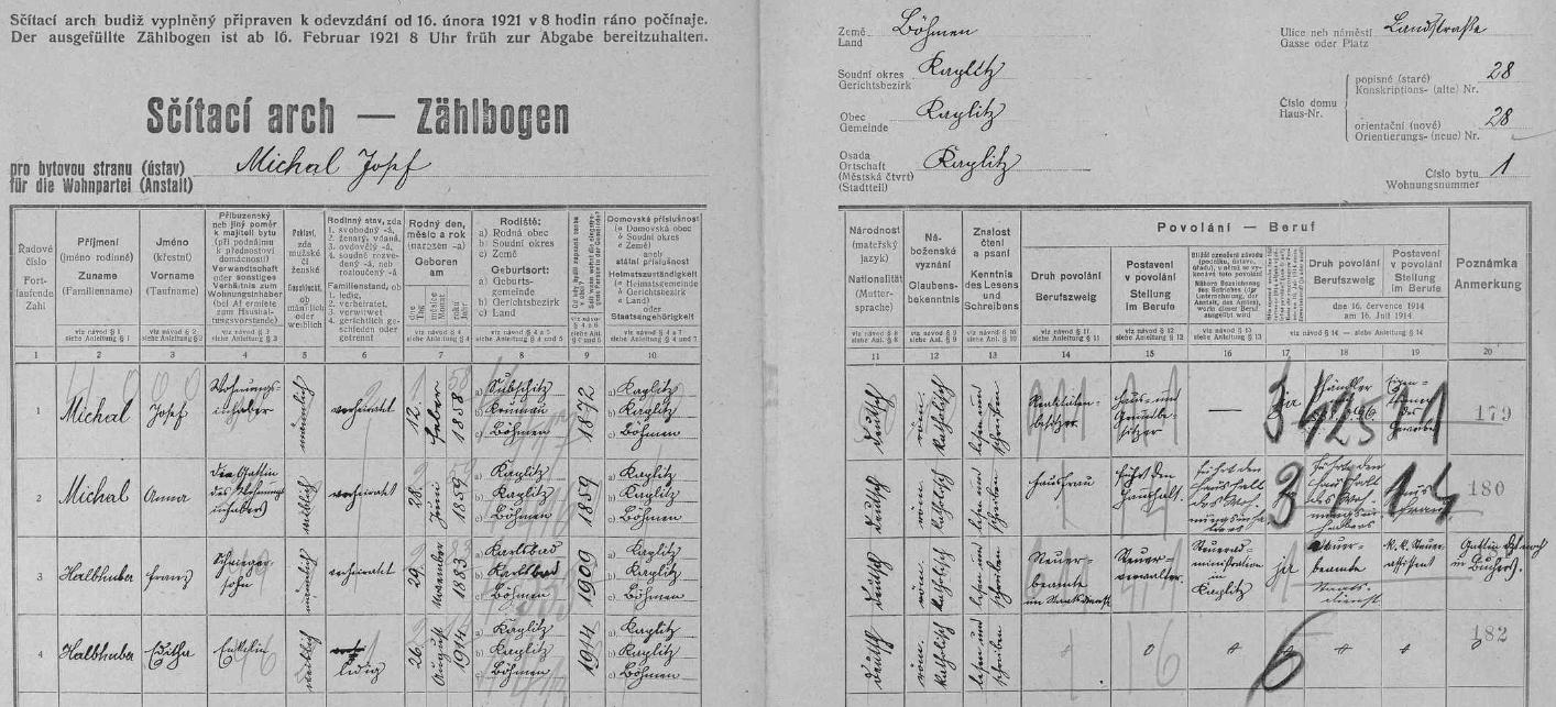 Arch sčítání lidu z roku 1921 pro dům čp. 28 v Kaplici, kde žil její otec Franz Halbhuber ještě u rodičů své prvé ženy Juliany (1890-1922) i s dcerou Edithou z tohoto prvého svého manželství, než se snad (alespoň podle serveru My Heritage) ještě téhož roku 1921 oženil znovu s Marií Walburgou Hietlerovou (podle My Heritage *10. června roku 1900 v Pohoří na Šumavě), se kterou měl pak dceru Hermu a Gildu a také (opět podle My Heritage) syna Franze (1926-1945)