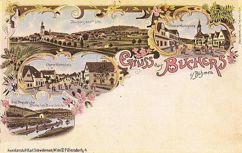 Pohlednice z Pohoří na Šumavě, zde s německým označením Buchers in Böhmen (!) a zpodobněním buquoyského vaziště vorů Baronův most...