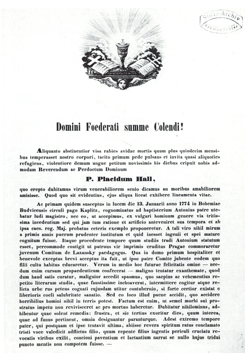 Strana oběžníku, posílaného od kláštera ke klášteru, se zprávou o jeho skonu v Pfarrkirchen  2. května 1853