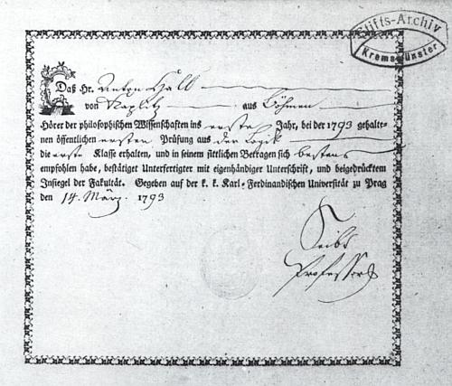 Vysvědčení o jeho zkoušce z logiky u profesora K. H. Seibta na pražské univerzitě s datem 14. března roku 1793