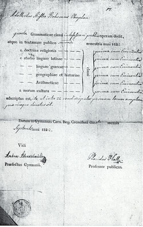 """Jím podepsané vysvědčení Adalberta Stiftera po ukončení """"gramatikálních"""" tříd na gymnáziu v Kremsmünsteru"""