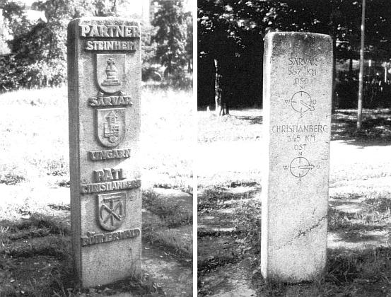 Partnerský a patronátní kámen ve Steinheim z obou stran i s udáním vzdáleností do maďarského Sárváru a českého Křišťanova