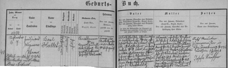 Záznam křišťanovské křestní matriky o narození otcově v rodině arnoštovského sklářského dělníka Adolfa Halletze, jehož otec byl rovněž brusičem skla - přípis uvádí i svatbu Karlových rodičů v Křišťanově 20. září roku 1928