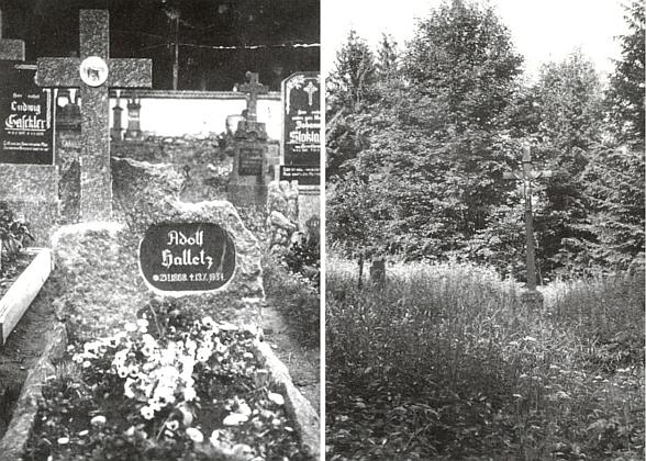 Hrob jeho děda Adolfa na křišťanovském hřbitově na snímcích z roku 1945 a 1974