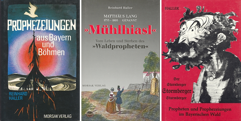 Obálky tří jeho knih o šumavských proroctvích, vesměs vyšlých v nakladatelství Morsak, Grafenau, a to i v několika vydáních