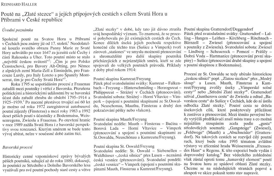 """Začátek jeho stati o poutích po """"Zlaté stezce"""" z Bavor na Svatou Horu u Příbrami ve sborníku, v němž lze najít i studii, která tvoří úvod webových stránek Kohoutího kříže"""