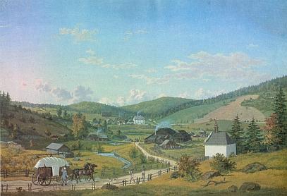Někdejší Stříbrné Hutě na akvarelu T. F. Zimmermanna z roku 1843...