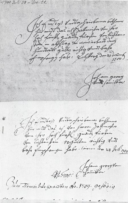 Dva jím vlastnoručně psané příjmové doklady z roku 1700