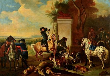 Jeden z jeho loveckých obrazů, namalovaných na zakázku knížete Adama Františka ze Schwarzenbergu