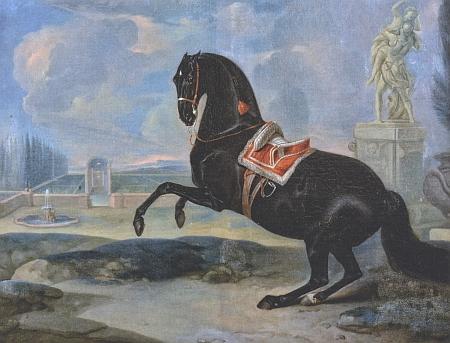 Dva jeho obrazy osedlaných vraníků se schwarzenberským výžehem, které jsou dnes umístěny v tzv. Hamiltonově kabinetu na zámku Hluboká