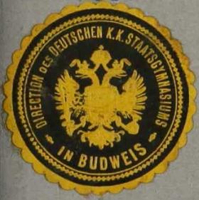 Nálepka ředitelství německého c.k. státního gymnázia v Českých Budějovicích