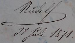 Rudolfův podpis v pamětní knize     českobudějovického německého gymnázia